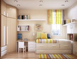 l best small kids bedroom design with cool recessed lighting and single bed equipped trundle plus storage drawers as well as curved brown finish plywood children bedroom lighting