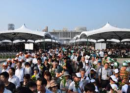 pictures nagasaki and hiroshima survivors share their stories 70th peace memorial ceremonies hiroshima and nagasaki crowds