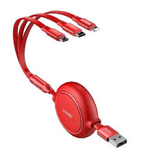 Кабель <b>Baseus Golden Loop</b> Three-in-One Elastic Data Cable USB ...
