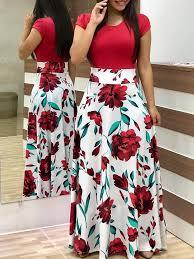 vintage dress 2019 new summer women's <b>flower print color</b> ...