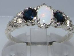 <b>925</b> Sterling <b>Silver Real Genuine</b> Opal and Sapphire Womens Band ...