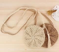 Simple Round Tassels <b>Straw Shoulder Bag Women</b> Handmade ...