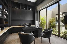black desk table in beautiful work office decorating ideas with black leather desk chairs and sliding glass wall also seems bright due to glass wall with beautiful work office decorating