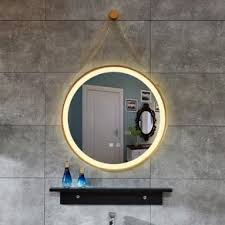 LED Lighted Bathroom Mirror Round <b>Makeup Mirror Creative</b> Rope ...