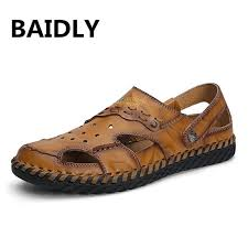 Soft Genuine <b>Leather</b> PU New <b>Cow Leather Sandals Men</b> Summer ...