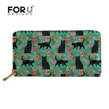 <b>FORUDESIGNS</b> Black Cat Floral Printing <b>Long Wallet Female</b> Card ...