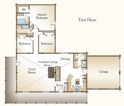 The Cheyenne Log Home Floor Plan   Bedroom Log Home Plan   Ranch    Cheyenne Log Home Floor Plan First Floor