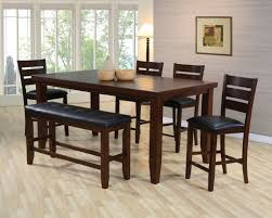tall dining chairs counter: unique espresso counter high dining table w  chairs and bench dream rooms furniture