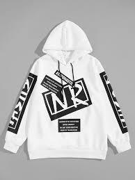 <b>Guys Letter</b> Print Drawstring Hoodie in <b>2019</b>   <b>Mens</b> sweatshirts ...