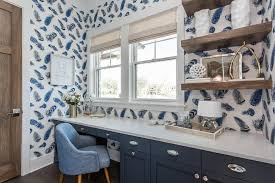 blue home office with salvaged wood floating shelves blue home office