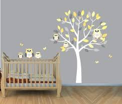 yellow owl wall decal gender neutral baby nursery or kids room gray by baby nursery yellow grey gender neutral