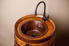 custom made wine barrel vanity with deep sink alpine wine design outdoor finish wine barrel
