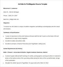 media resume  samples examples format  sample art editor for print magazine resume template