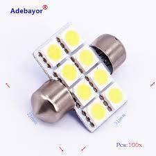 100 pcs Dome 31mm 5050 SMD <b>8</b> LED <b>Car</b> Interior <b>LED Lamp</b> ...
