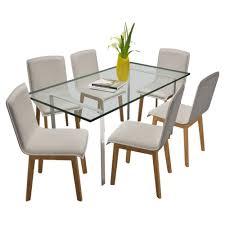 beige <b>Oak Indoor Fabric Dining</b> Chair Set 6 pcs Beige - LovDock.com