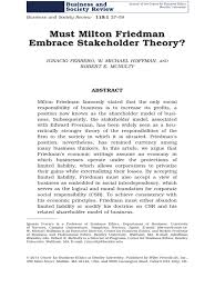 must milton friedman embrace stakeholder theory docshare tips