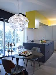 enchanting look of blue and yellow kitchen ideas delightful decorating ideas using rounded glass tables architecture kitchen decorations delightful pendant kitchen