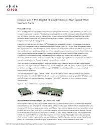 Cisco 4- and <b>8</b>-<b>Port</b> Gigabit <b>Ethernet</b> Enhanced High-Speed WAN ...