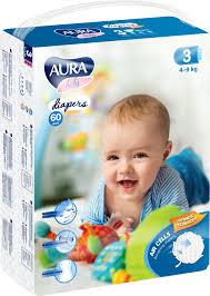 <b>Подгузники</b> одноразовые для детей <b>Aura baby</b> 3/M 4-9 кг <b>mega</b> ...