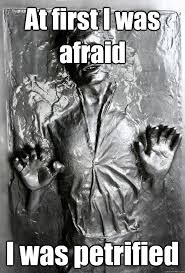 At first I was afraid I was petrified - Han Solo Carbonite - quickmeme via Relatably.com