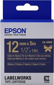 <b>SATIN RIBBON LK</b>-<b>4HKK</b> GOLD/NAVY 12MM (5M) - Intellistor