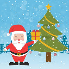 Free Vector | <b>Santa claus</b> next to a <b>christmas tree</b>