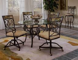 brown metal dining room chairs casters  dark brown polished wooden dining room chairs with casters