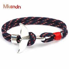 MKENDN Fashion Whale Tail Anchor <b>Bracelets Men Women Charm</b> ...