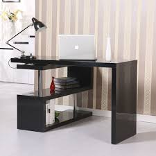 amazoncom homcom rotating office desk and shelf combo black office products black office desks