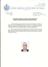 usi of usi director s cv he assumed charge as the director of the united service institution of new delhi on 1st jan 2009