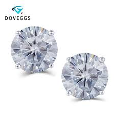 2019 <b>DovEggs Sterling Solid 925</b> Silver 4CTW 8mm Slight Grey ...