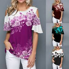 <b>Women</b> Loose Cold Shoulder <b>Floral</b> Shirt Ladies Short Sleeve ...