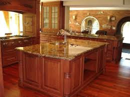 dishy kitchen counter decorating ideas: awesome brown kitchen with kitchen countertop ideas furnished with sink and completed with oven range plus