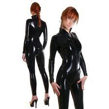 <b>Women Latex</b> Catsuit Front Zipper Gummi 0.4mm <b>Handmade</b> ...