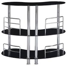 global furniture usa mbt02 half moon black glass bar table with chrome legs contemporary indoor black and chrome furniture