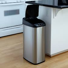 trash cans for the kitchen nine stars dzt   touchless stainless steel  gallon trash can at haynee