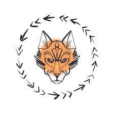 Beautiful <b>Totem Wolf</b> Or <b>Fox</b>, <b>Watercolor</b> Backdrop, Boho Hippie ...