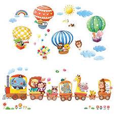DECOWALL DL-1406L <b>Animal Train</b> & Hot Air Balloons Kids <b>Wall</b>