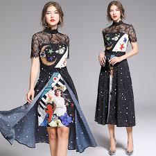 <b>Banulin 2019</b> Fashion Runway <b>Summer</b> Dress <b>Women'S</b> Short ...