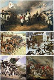 american revolution and revolutionary warclockwise from top left  surrender of lord cornwallis after the siege of yorktown  battle