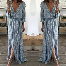 <b>S 2XL Women</b> V Neck Long Sleeve Maxi Dress <b>Night Evening</b> Party ...