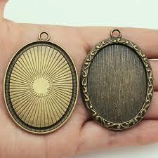 <b>2pcs</b>/<b>lot 30x40mm Oval</b> Inner Size Vintage Style Cabochon Base ...