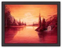 Картина (<b>репродукция</b>) - <b>Рассвет</b> - Леон Веллс - <b>рама</b> Стиль Венге