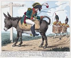 hundred days the journey of a modern hero to the island of elba print shows napoleon seated backwards on a donkey on the road to elba from fontainebleau