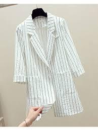 <b>Commuting</b> Urndown Collar Bracelet Sleeve Stripe Medium Blazer ...