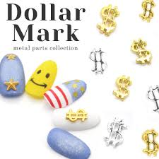 New <b>50pcs Summer style</b> 3D Gold Silver Metal dollar mark Nail Art ...
