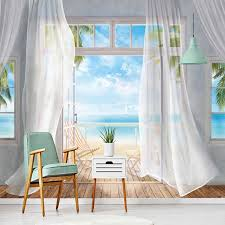 <b>Custom</b> Mural Wallpaper Modern <b>3D</b> Balcony <b>Sea View</b> Background ...