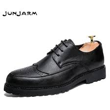 <b>JUNJARM New</b> 2019 Luxury Leather Brogue <b>Mens</b> Flats Shoes ...