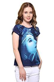 Buy ORIZIA Women Blue <b>Scoop Neck</b> with FACE Silhouette Print for ...