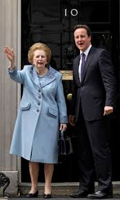 england style steps: margaret thatcher seen here in  with david cameron has died following a stroke
